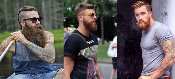 bartfrisuren ideen für den modernen mann in einer großstadt freizeitaktivitäten schwimmen spazieren gehen tattoos t-shirts blonder bart