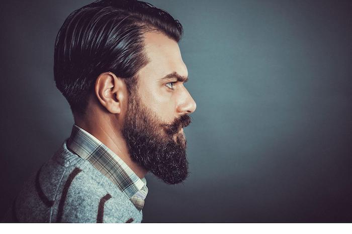 bart wachsen lassen schwarzer bart langer bart haare gestylt ideen für männer kardigan tragen schnurrbart