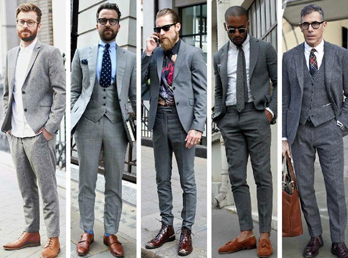 dunkelblauer anzug und nuancen des grauen grauer anzug hellgrau bis dunkelgrau fünf nuancen töne am outfit