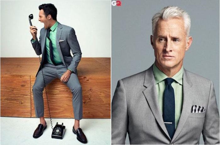 welcher mann im anzug gefällt ihnen besser mit dem türkis hemd oder mit dem einfachen grünen hemd ideen