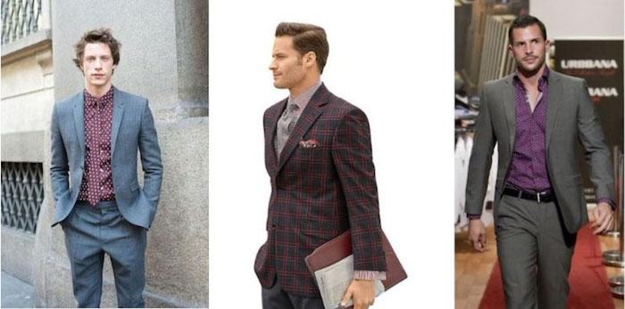 mann im anzug ideen zum stylen drei outfits violett oder rot hemd ideen unter dem sakko