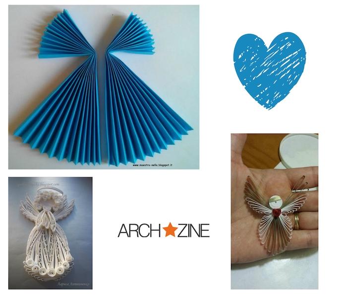 ein bild mit einem blauen engel aus papier und einem blauen herzen - einen engel basteln - eine hand mit einem ring und einem quilling engel