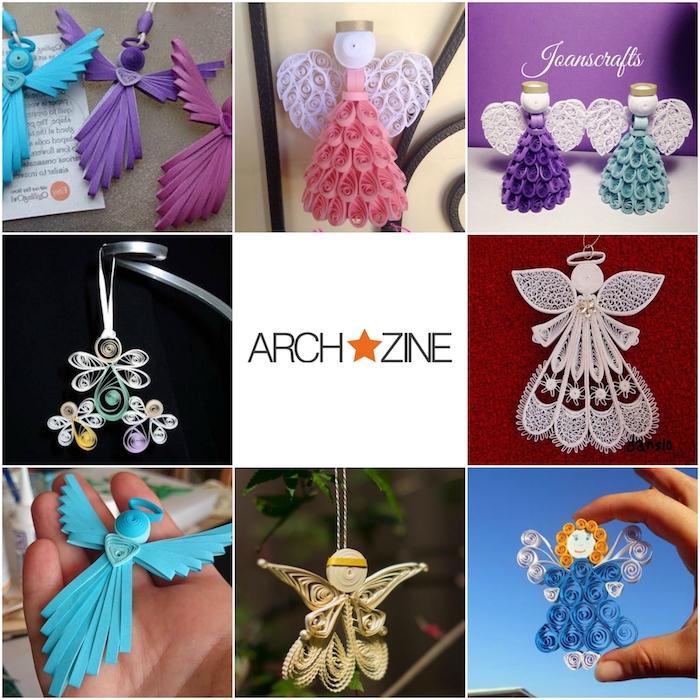 kleine quilling engel aus papier - basterln engel - violette, weiße, blaue, grüne und pinke quilling engel mit weißen flügeln