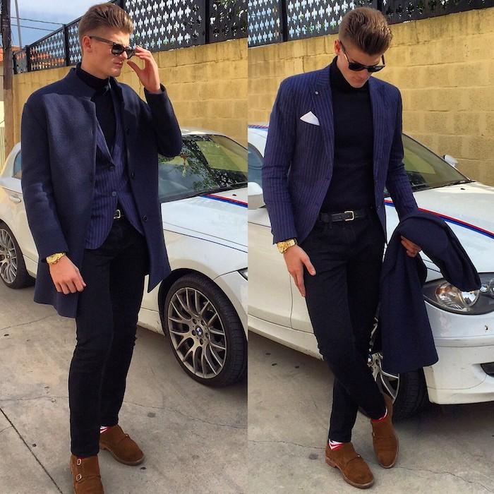 blauer anzug braune schuhe das outfit von alberto garcia neues bmw auto in weißer farbe coole ideen zum männerstil