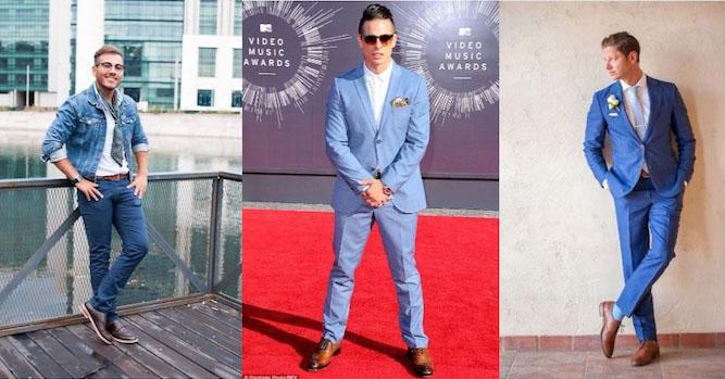 dunkelblauer anzug oder einfach blaues outfit mit braunen schuhen casual offiziell ideen
