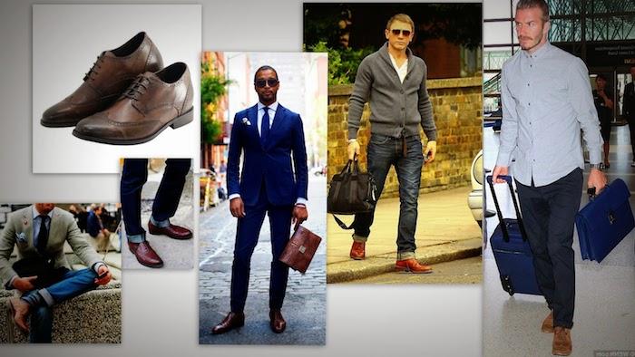 blauer anzug schwarze schuhe ideen accessoires tasche fahren reisen bequeme klamotten für männer