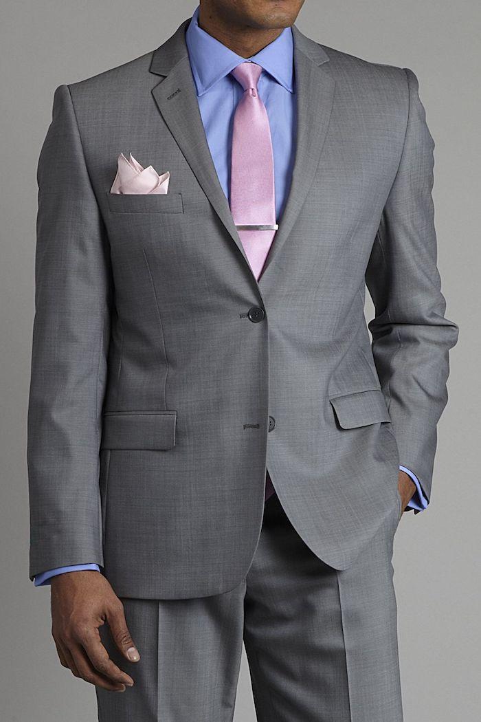 karohemd kombinieren farblich und nach dem passenden stoff blaues hemd rosa krawatte graues outfit idee