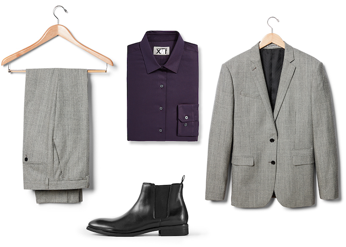 dunkelblauer anzug mit violettem hemd kann nicht so cool aussehen wie dem grauen schwarze schuhe passen zu allem
