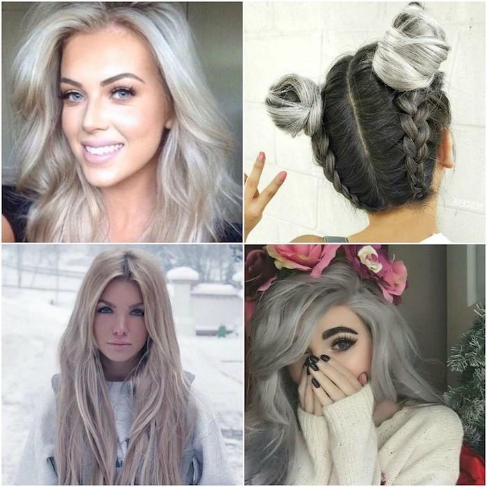 vier Bilder von schönen Mädchen mit der Haarfarbe Silberblond zum Inspirieren