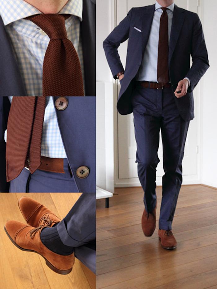 dunkelblaue hose kombinieren teil eines anzugs dunkelblauem sakko hölzerne knöpfe braune accessoires krawatte und gürtel schuhe