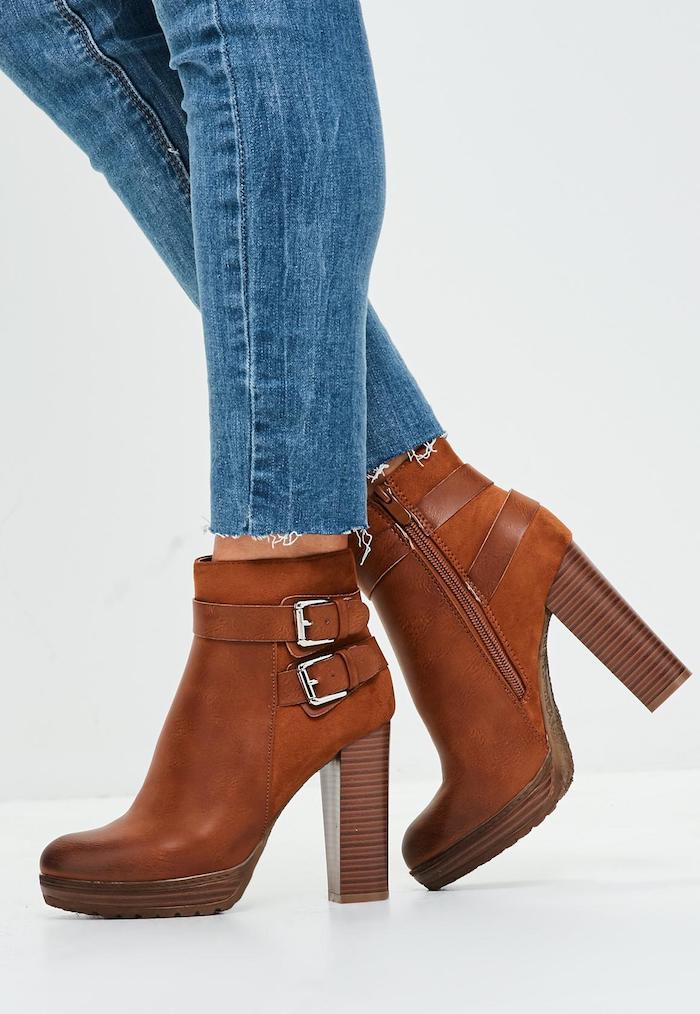 braune schuhe damen absatzschuhe mit bequemen absätzen komfortable schuhe für ladies jeans gerieben