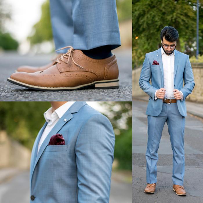 dunkelblauer anzug schuhe braune schuhe himmelsblauer anzug ideen zum styling von männern beige