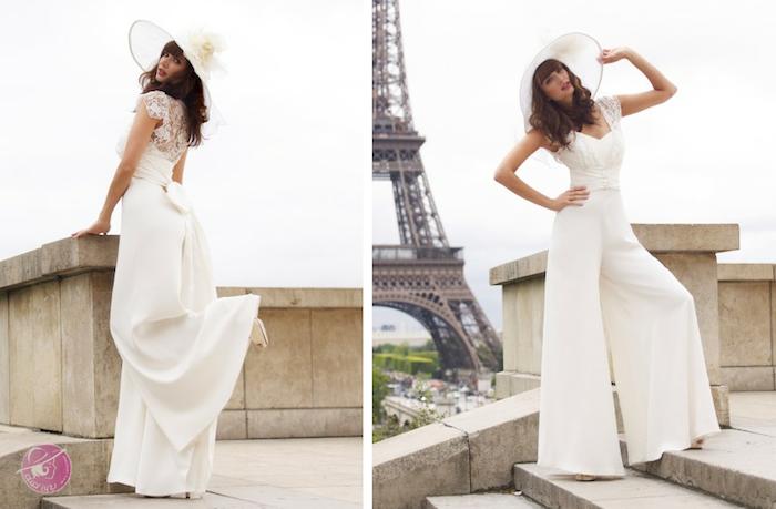 hochzeit in Paris jumpsuit damen ideen zum gestalten damenmode großer hut elegante bekleidung moderne braute