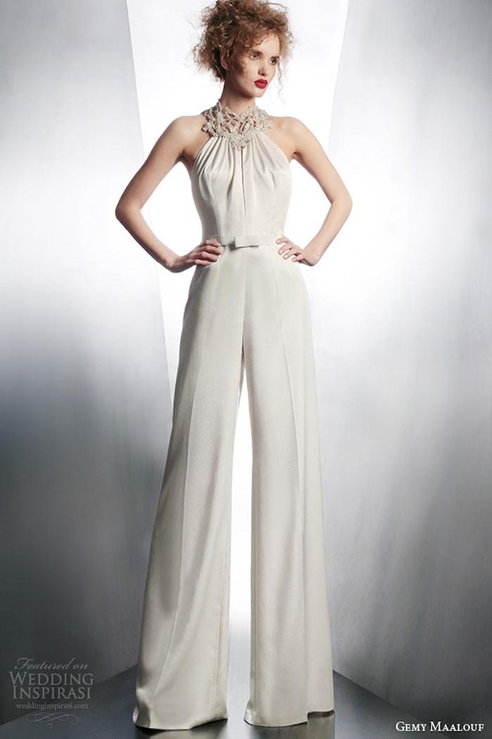 jumpsuit damen ideen und mode zum entlehnen weißer overall mit silbernen motiven breite hosenbeine