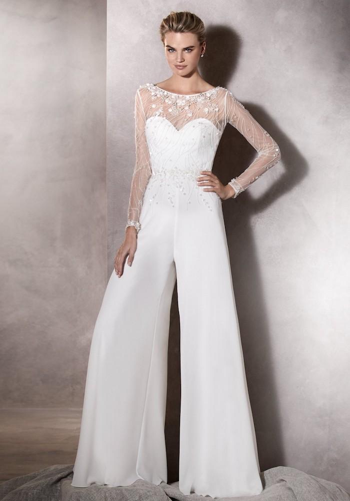 eleganter jumpsuit damen mode brautmode zum inspirieren ärmel und oberteil aus spitze schleife design stoff