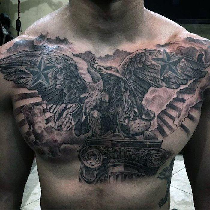 brust tattoo mann, große realistische 3d-tätowierung mit adler-motiv