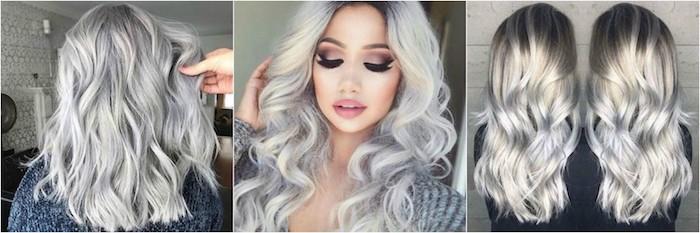 ein Collage von drei Fotos mit silberblonden Haare um den Beitrag zu enden