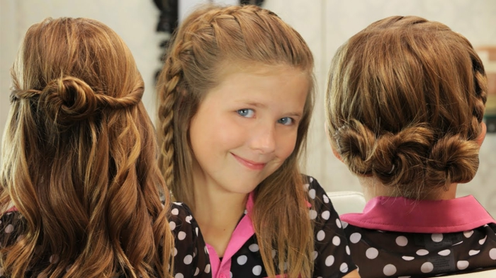 Mädchenfrisuren - drei Frisuren für Mädchen mit rotem Haar, verschieden geflochten