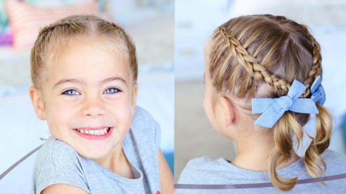 Mädchenfrisuren - ein entzückendes blondes Mädchen mit grauer Bluse und zwei blaue Schleifen