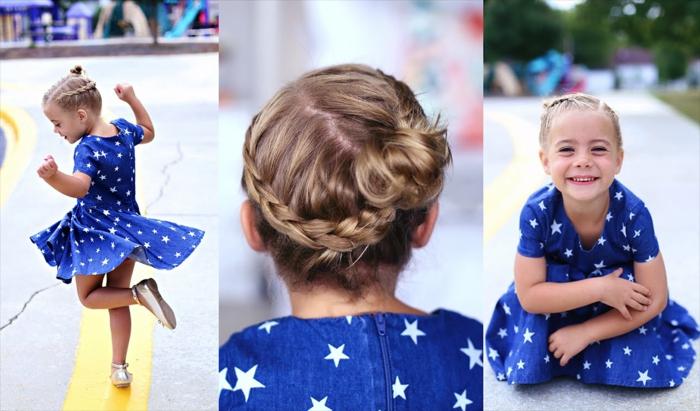 Mädchenfrisuren - ein blondes Mädchen mit einem blauen Kleid, eine tolle Frisur