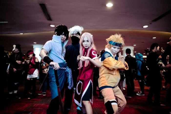 drei Ninjas und Ihr Lehrer aus dem Anime Naruto - Last Minute Fasching Kostüm