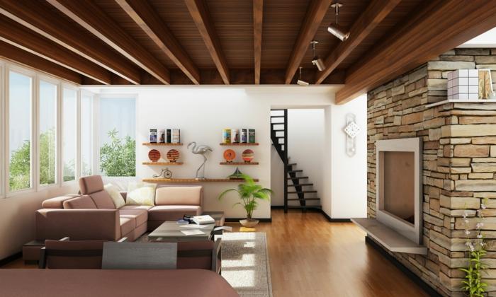 eine Dachwohnung mit einer schönen Aussicht, man sieht die Balken, Natursteinwand