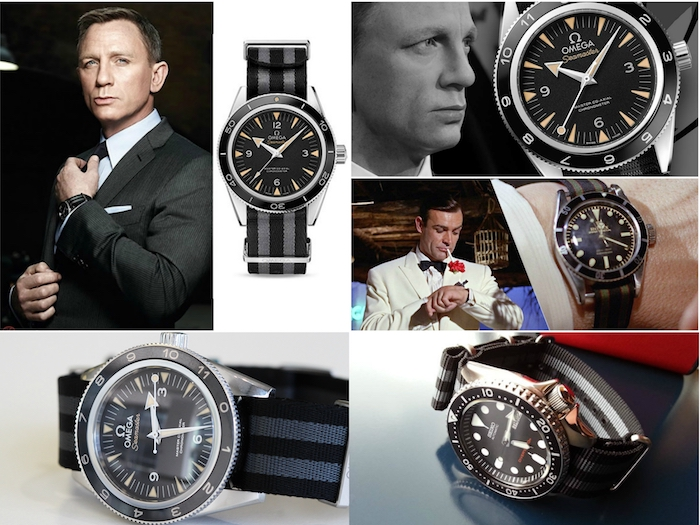 james bond uhren mit einem schwarz-grauen NATO armband