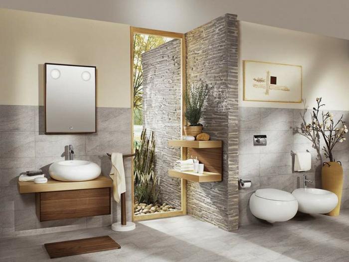 Möbel mit ovaler Form, rundes Becken aus Naturstein, Tuchständer aus Holz, Wandregal aus Holz, Wand mit Naturstein-Optik, Ikebana-Deko