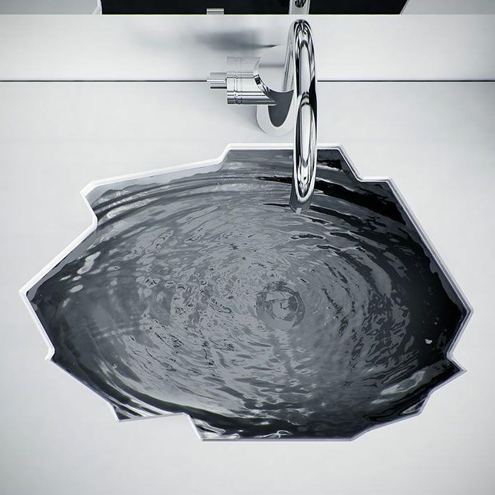 Badezimmer Waschbecken zum Einbau, Waschtisch mit ungewöhnlichem Design, Wasserhahn montiert auf dem Waschtisch