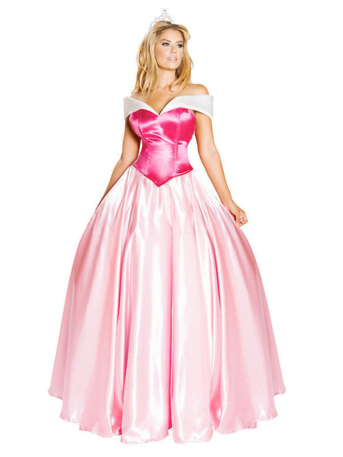 Dornröschen Kostüm für Fasching, rosafarbenes Ballkleid aus Satin, silberne Krone
