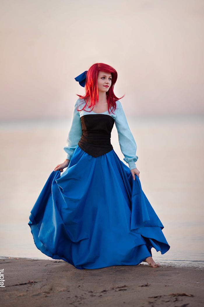 Arielle die Meerjungfrau Kostüm für Fasching, bodenlanges weites Kleid mit Korsett, dunkelblaue Haare