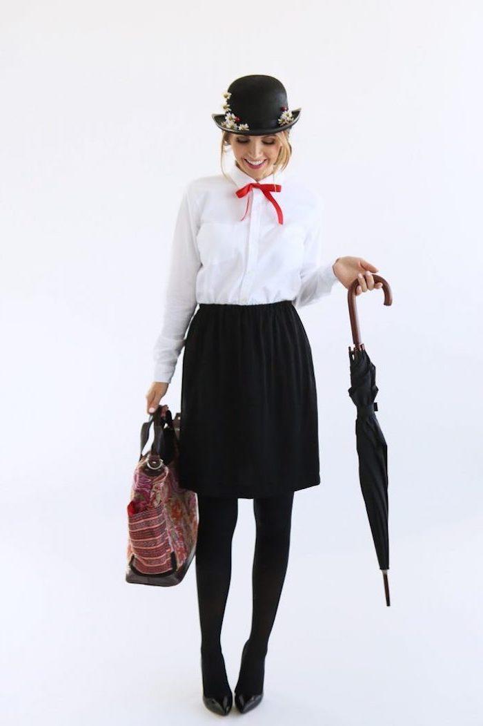 Mary Poppins Kostüm, weißes Hemd mit rotem Band, schwarzer Rock und Regenschirm