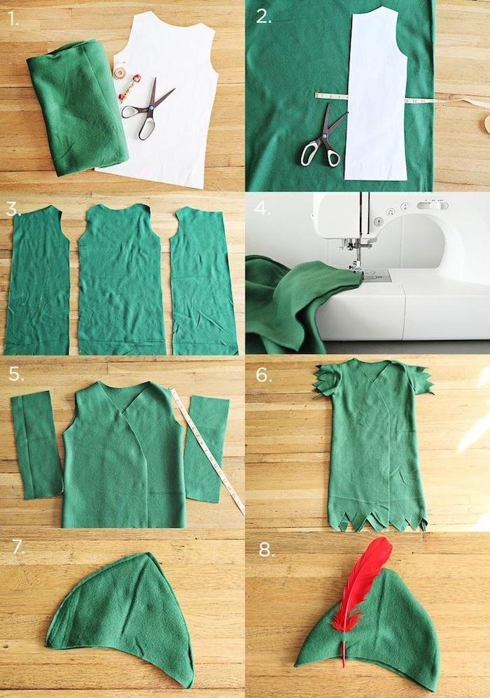 Peter Pan Kostüm selber machen, grünes Hemd und Hut mit roter Feder