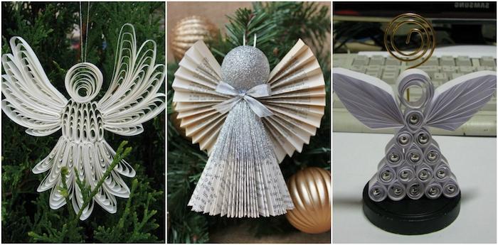 drei kleine weiße diy quilling engel mit weißen flügeln - weihnachtskugel und tannenbaum - einen engel basteln mit kindern