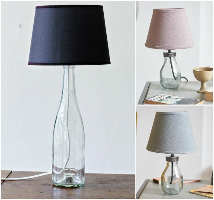 flaschenlampe selber bauen - drei bilder mit flaschenlampen aus flaschen aus glas - eine schwarze, eine pinke und eine graue flschenlampe aus glas