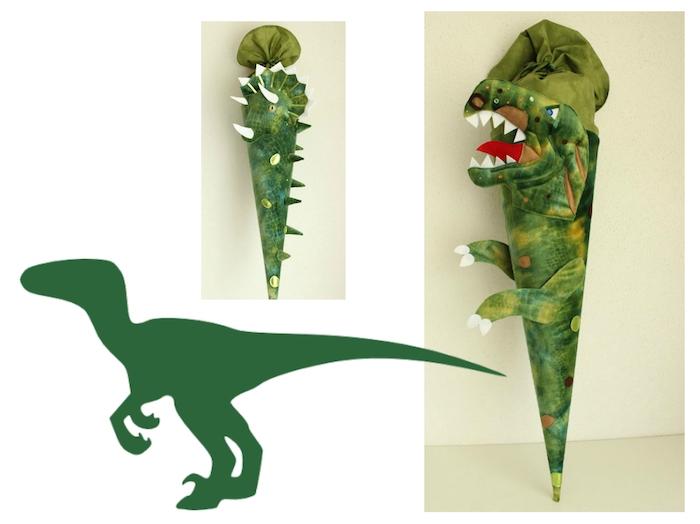 zwei bilder mit grünen schultüten mit grünen dinosaurien mit weißen zähnen - eine schultüte selber basteln