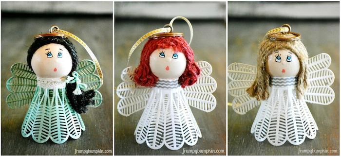 einen engel selber basteln - kleine engel mit blauen augen - einen engel aus einem alten federball - engel mit grünen und weißen federn und blauen augen
