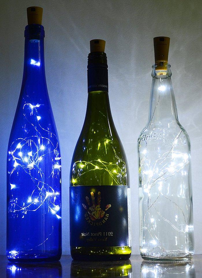 schlafzimmer lampen selber machen - eine blaue, eine grüne und eine weiße flaschenlampe