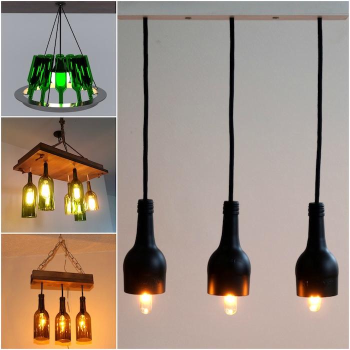vier bilder mit diy hängelampen aus hängeleuchten mit schwarzen und grünen glasflaschen