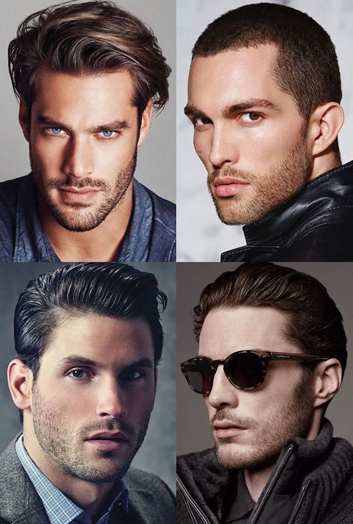 Vier Barttypen rund um den Mund kombiniert mit kurzen oder mittellangen Haaren