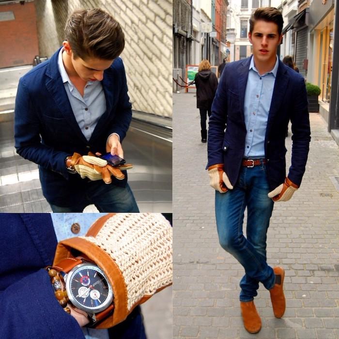 dunkelblauer anzug schuhe braune schuhe armbanduhr handschuhe accessoires zum coolen look