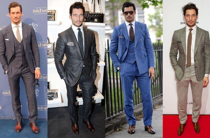 blauer anzug schwarze schuhe vier bilderideen zum stylen von braunen schuhen coole
