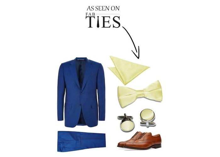 braune business schuhe zum eleganten businessstil hinzufügen blauer anzug und weiße accessoires fliege und manschetten