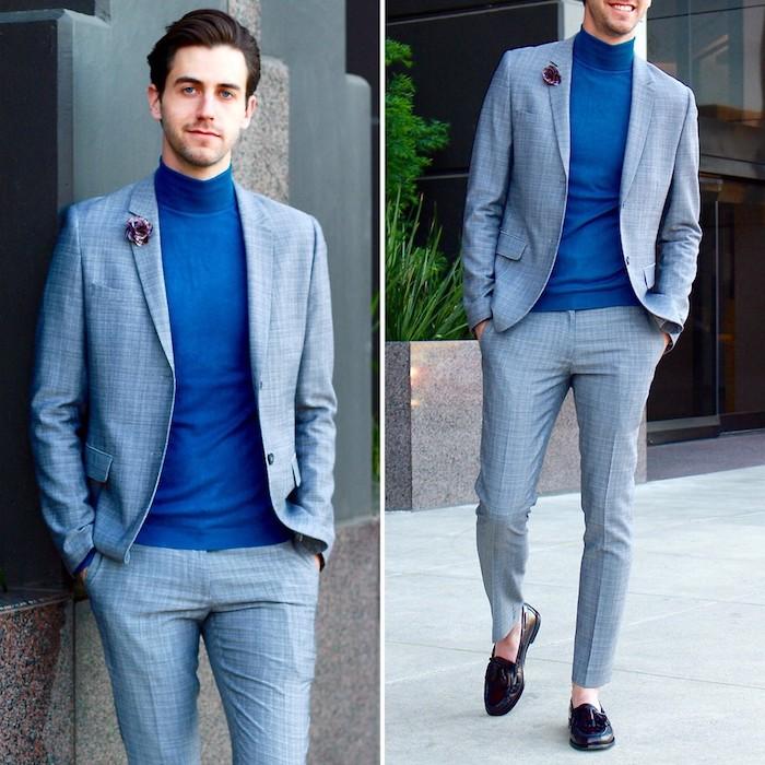 dunkelblauer anzug mit grauem hemd oder grauer anzug mit blauem hemd/pullover königsblau accessoires am aufschlag