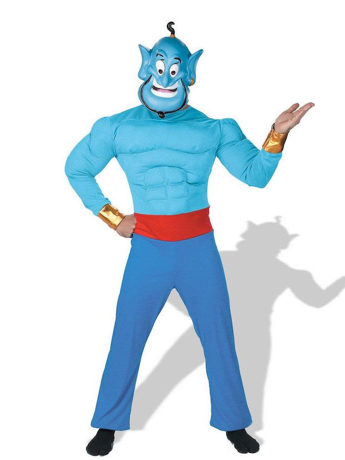 Dschinn Kostüm für Männer mit Muskeleinsätzen, Maske und Kleidung