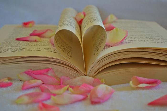 Noch Eine Buchüberraschung, Grüße Zu Valentinstag, Ein Herz Aus Zwei  Blättern Und Rosa Blüten