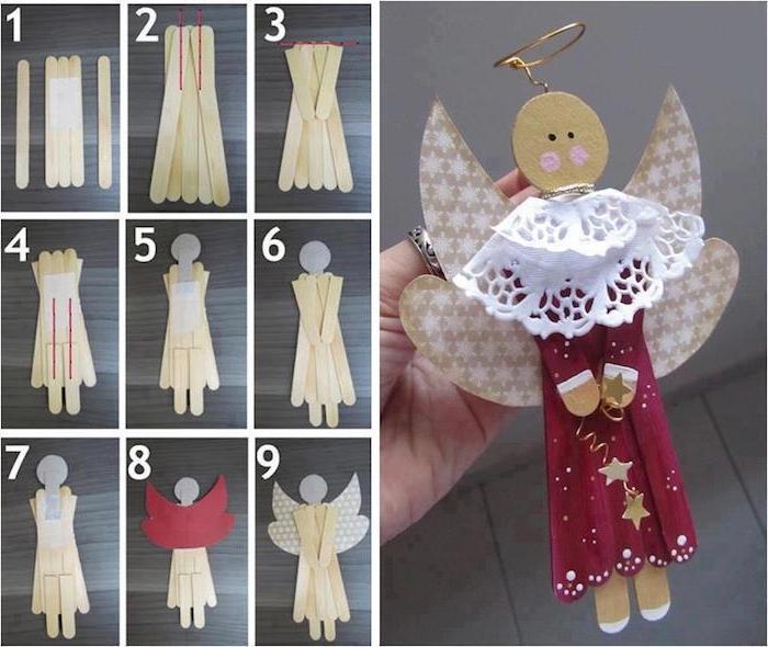 diy anleitung in neun schritten - engel aus holz basteln - ein engel mit einem roten kleid mit gelben sternen und flügeln mit kleinen weißen sternen - engel aus ein-holzstäbchen