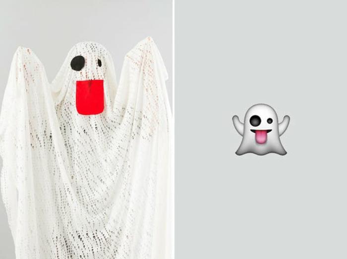 kreative einfache Karnevalkostüme - ein Gespenster aus dem Emoticon