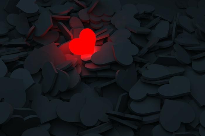 zeigen Sie wie speziell Ihre Lieblinge sind - Liebesbilder für Sie - ein rotes Herz unter viele graue