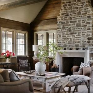 Steinwand Wohnzimmer - natürliche Gemütlichkeit zu Hause